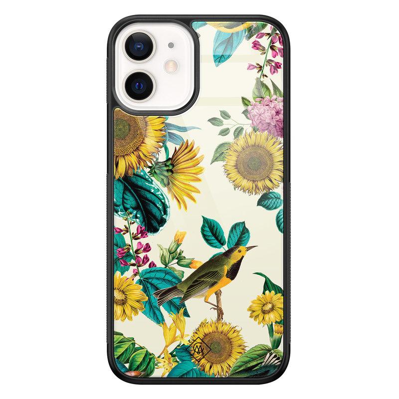 Casimoda iPhone 12 mini glazen hardcase - Sunflowers