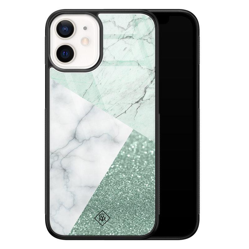 Casimoda iPhone 12 mini glazen hardcase - Minty marmer collage