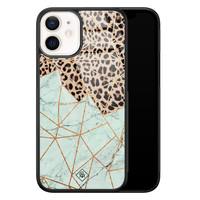 Casimoda iPhone 12 mini glazen hardcase - Luipaard marmer mint