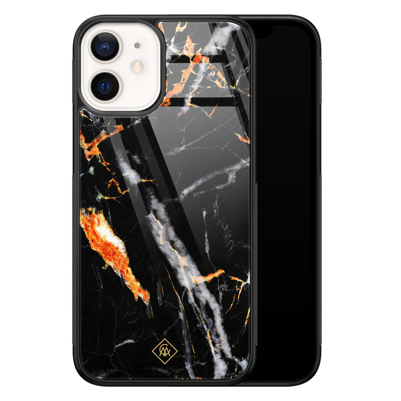 Casimoda iPhone 12 mini glazen hardcase - Marmer zwart oranje