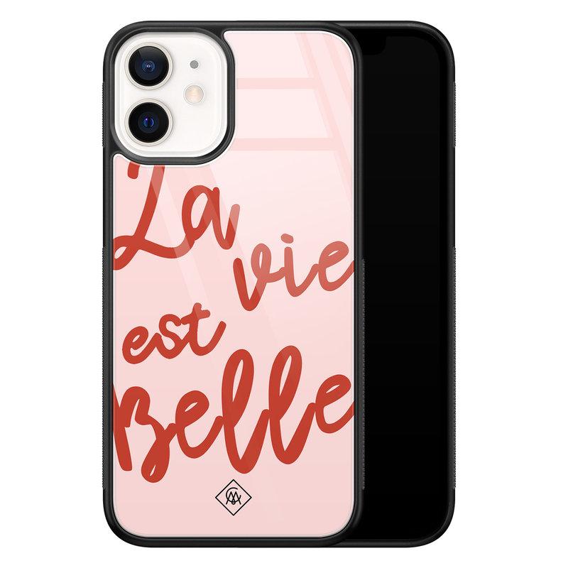 Casimoda iPhone 12 mini glazen hardcase - La vie est belle