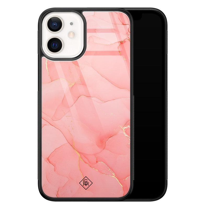 Casimoda iPhone 12 mini glazen hardcase - Marmer roze