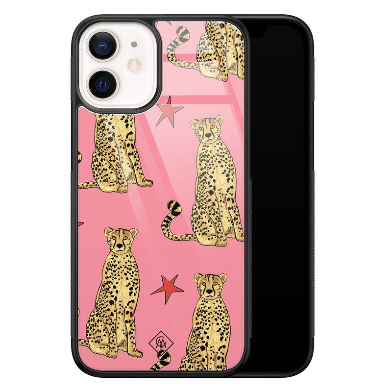 Casimoda iPhone 12 mini glazen hardcase - The pink leopard