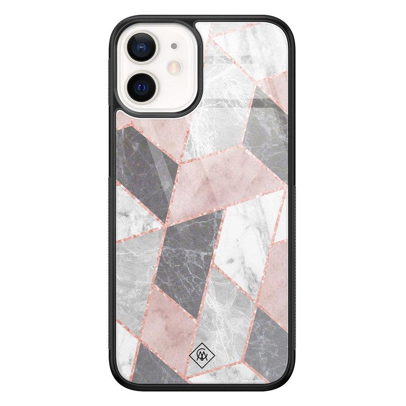 Casimoda iPhone 12 mini glazen hardcase - Stone grid