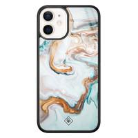 Casimoda iPhone 12 mini glazen hardcase - Goud blauw marmer