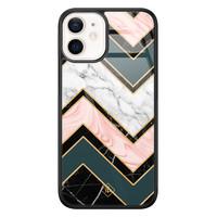 Casimoda iPhone 12 mini glazen hardcase - Marmer triangles