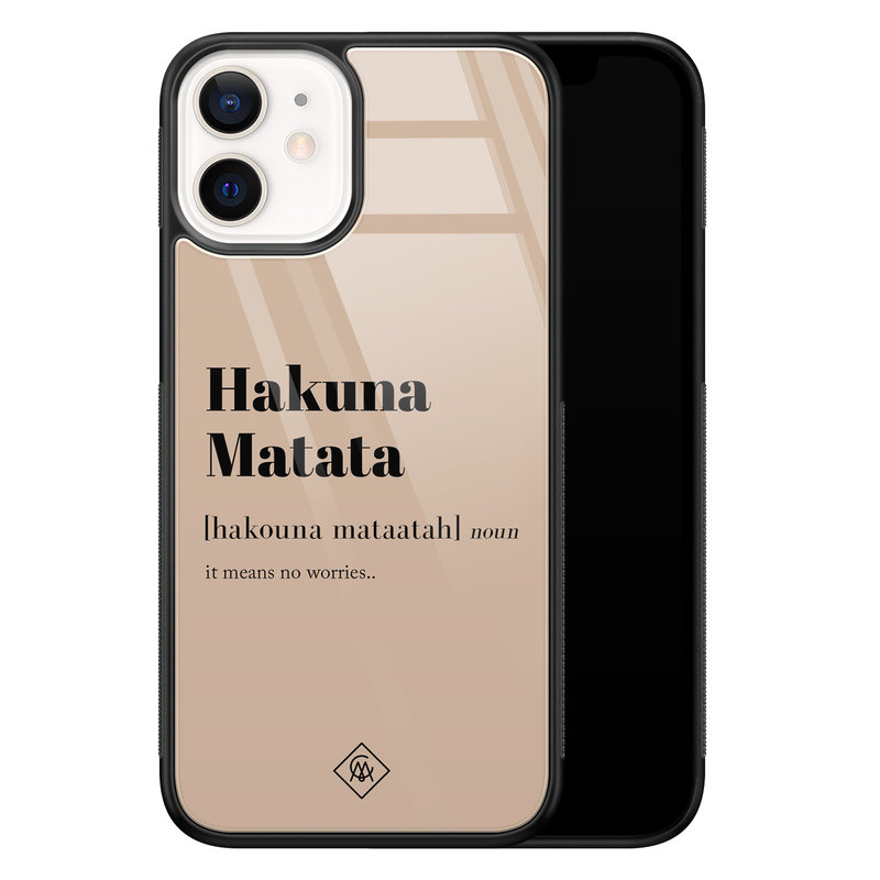 Casimoda iPhone 12 mini glazen hardcase - Hakuna Matata