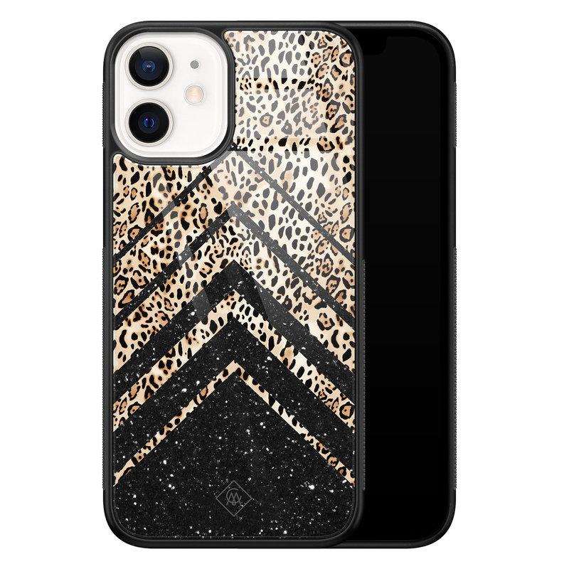 Casimoda iPhone 12 mini glazen hardcase - Chevron luipaard