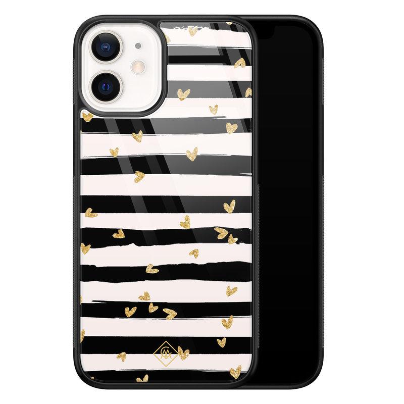 Casimoda iPhone 12 mini glazen hardcase - Hart streepjes