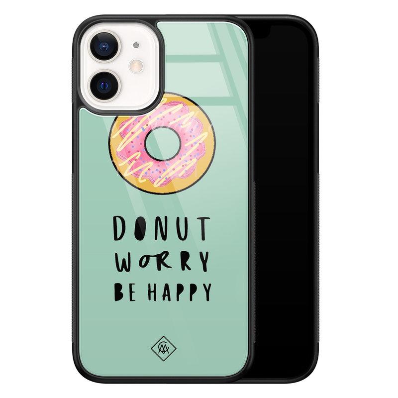 Casimoda iPhone 12 mini glazen hardcase - Donut worry