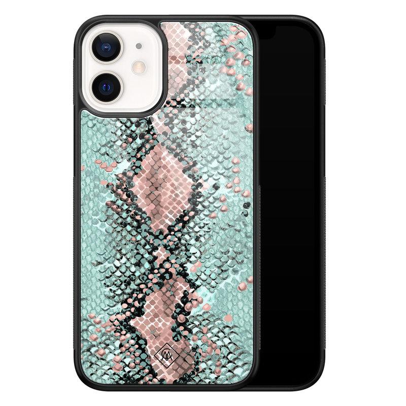 Casimoda iPhone 12 mini glazen hardcase - Baby snake