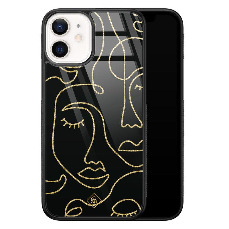 Casimoda iPhone 12 mini glazen hardcase - Abstract faces