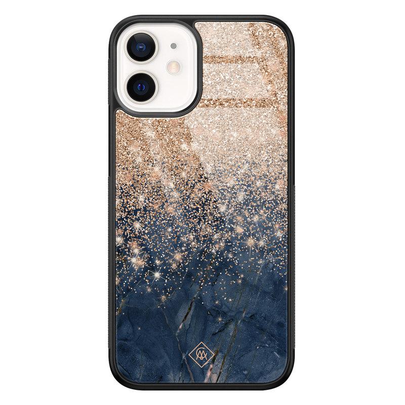 Casimoda iPhone 12 mini glazen hardcase - Marmer blauw rosegoud