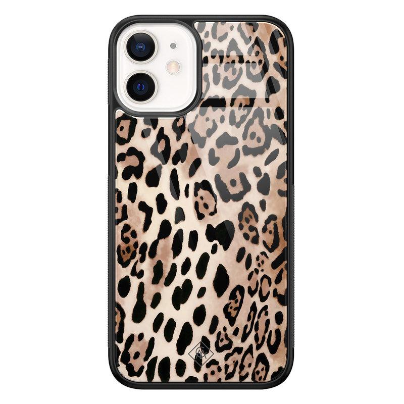 Casimoda iPhone 12 mini glazen hardcase - Golden wildcat
