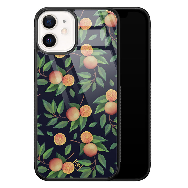 Casimoda iPhone 12 mini glazen hardcase - Orange lemonade