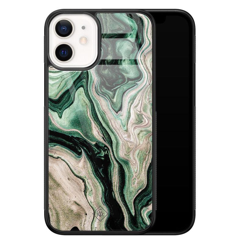Casimoda iPhone 12 mini glazen hardcase - Green waves