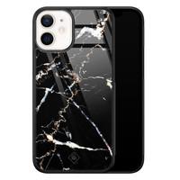 Casimoda iPhone 12 mini glazen hardcase - Marmer zwart