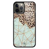 Casimoda iPhone 12 Pro Max glazen hardcase - Luipaard marmer mint