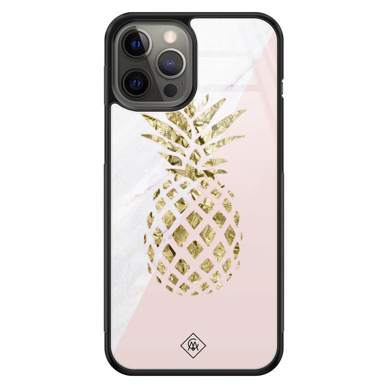 Casimoda iPhone 12 Pro Max glazen hardcase - Ananas
