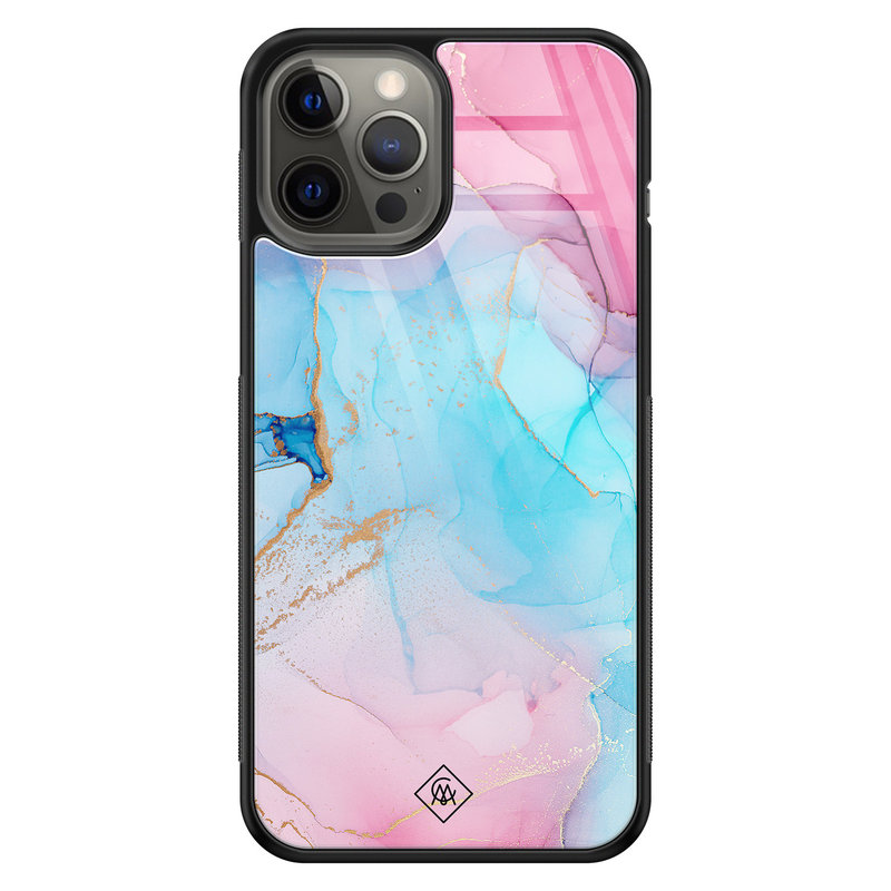 Casimoda iPhone 12 Pro Max glazen hardcase - Marble colorbomb