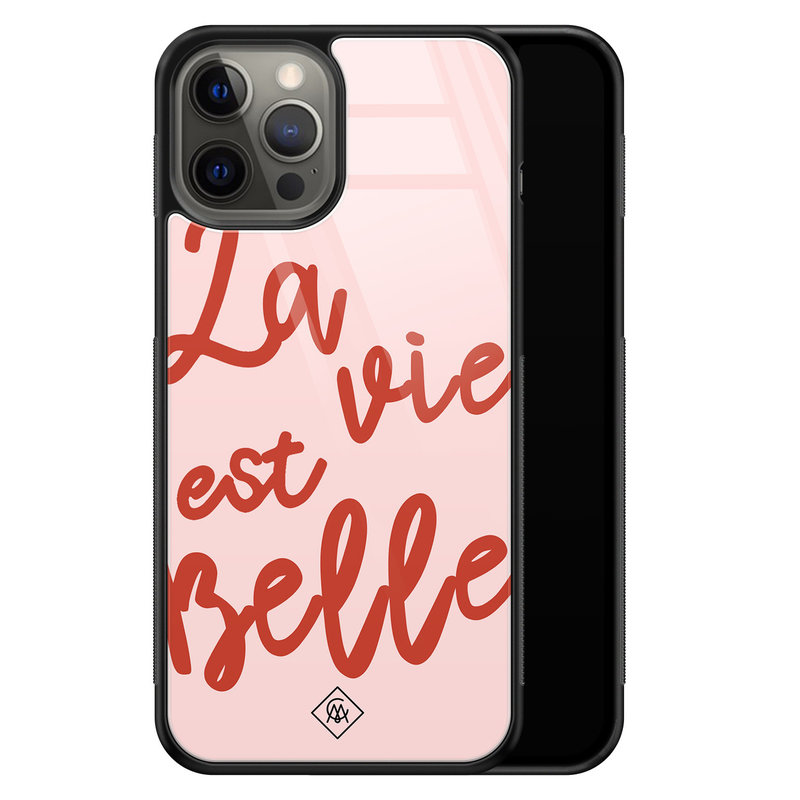 Casimoda iPhone 12 Pro Max glazen hardcase - La vie est belle