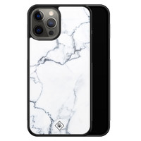 Casimoda iPhone 12 Pro Max glazen hardcase - Marmer grijs