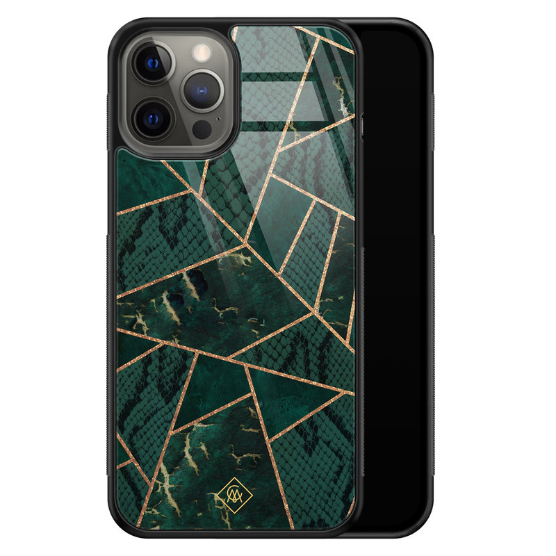 Casimoda iPhone 12 Pro Max glazen hardcase - Abstract groen
