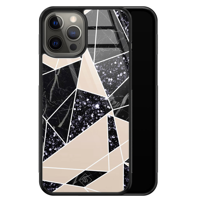 Casimoda iPhone 12 Pro Max glazen hardcase - Abstract painted