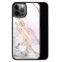 Casimoda iPhone 12 Pro Max glazen hardcase - Parelmoer marmer