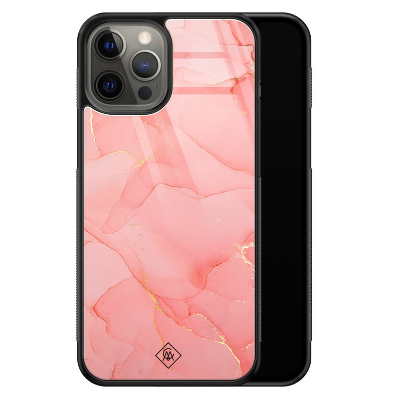 Casimoda iPhone 12 Pro Max glazen hardcase - Marmer roze
