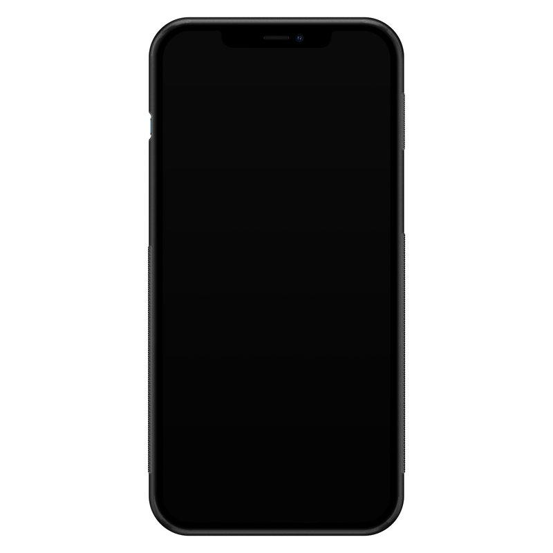 Casimoda iPhone 12 Pro Max glazen hardcase - Marmer zwart oranje