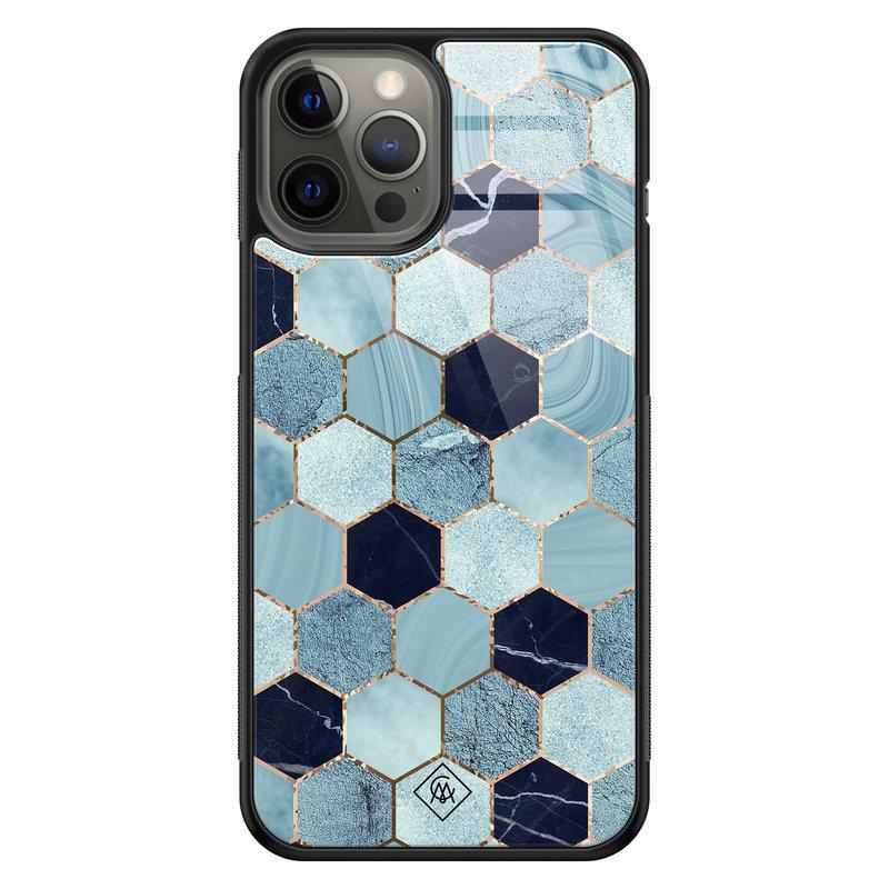 Casimoda iPhone 12 Pro Max glazen hardcase - Blue cubes