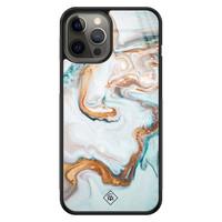 Casimoda iPhone 12 Pro Max glazen hardcase - Goud blauw marmer