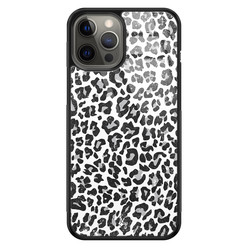 Casimoda iPhone 12 Pro Max glazen hardcase - Luipaard grijs