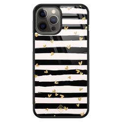 Casimoda iPhone 12 Pro Max glazen hardcase - Hart streepjes