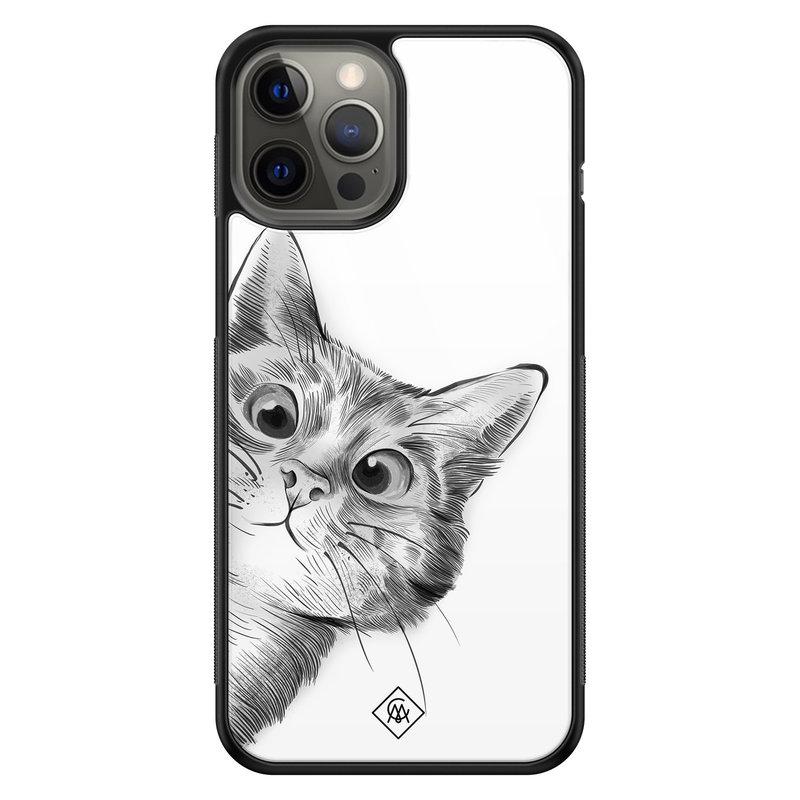 Casimoda iPhone 12 Pro Max glazen hardcase - Peekaboo