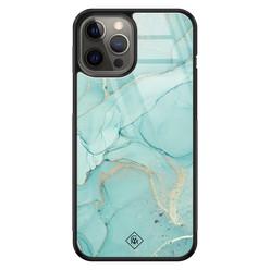 Casimoda iPhone 12 Pro Max glazen hardcase - Touch of mint