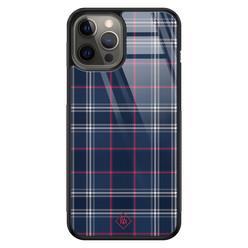 Casimoda iPhone 12 Pro Max glazen hardcase - Tartan blauw