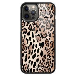 Casimoda iPhone 12 Pro Max glazen hardcase - Golden wildcat