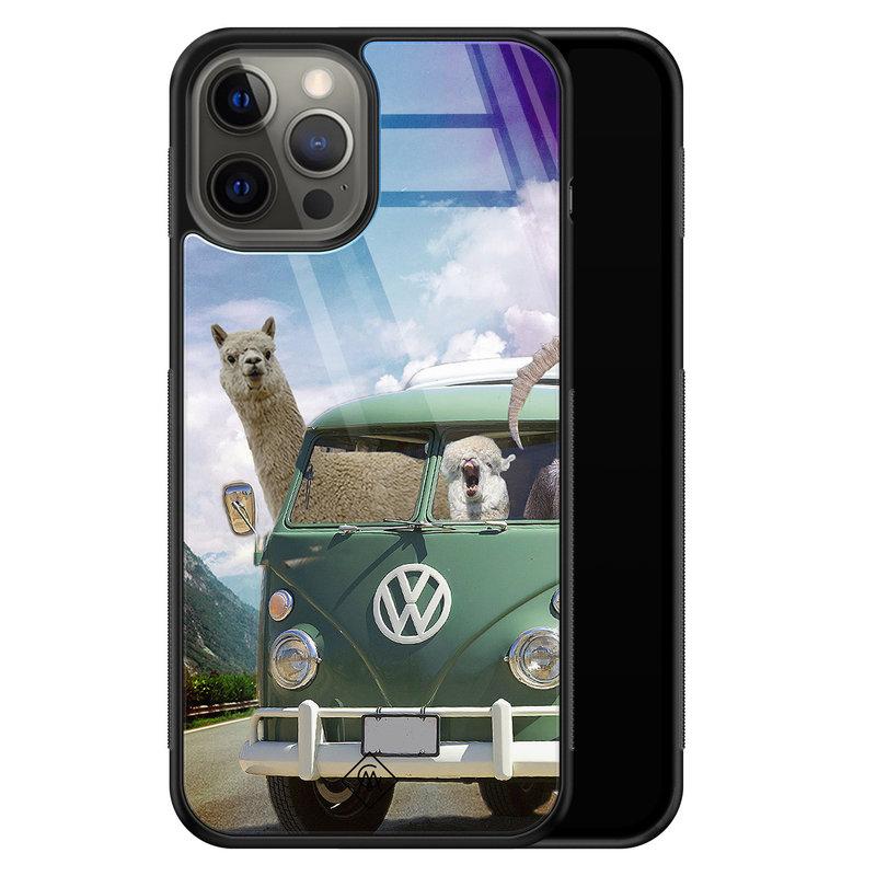 Casimoda iPhone 12 Pro Max glazen hardcase - Lama adventure
