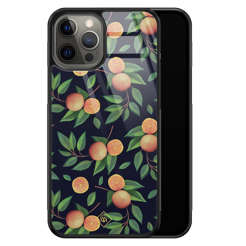 Casimoda iPhone 12 Pro Max glazen hardcase - Orange lemonade
