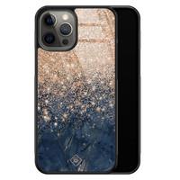 Casimoda iPhone 12 Pro Max glazen hardcase - Marmer blauw rosegoud