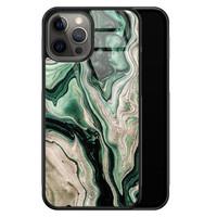 Casimoda iPhone 12 Pro Max glazen hardcase - Green waves