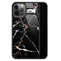 Casimoda iPhone 12 Pro Max glazen hardcase - Marmer zwart