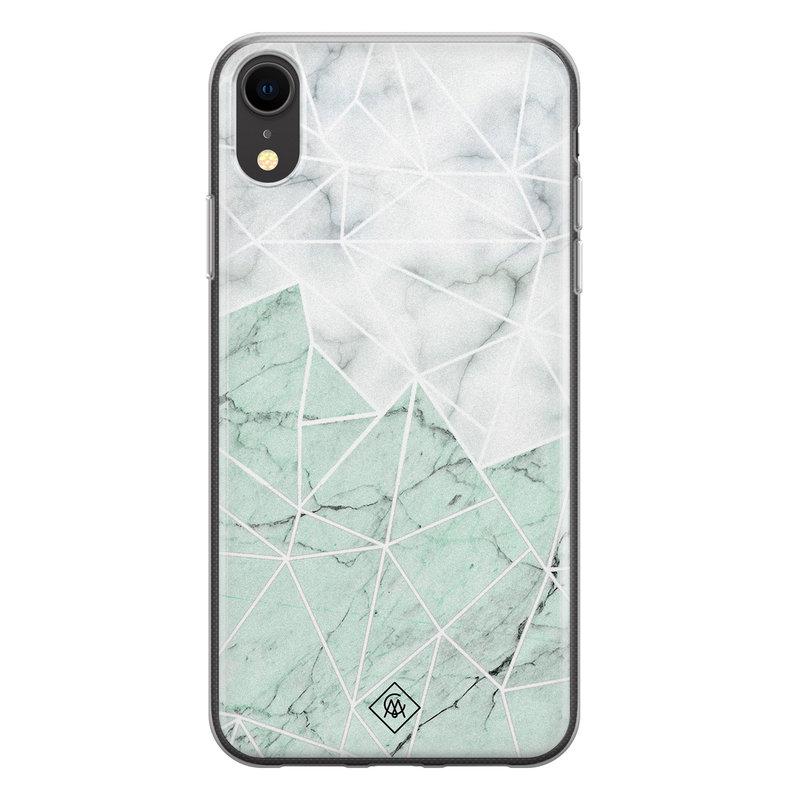 Casimoda iPhone XR siliconen telefoonhoesje - Marmer mint mix