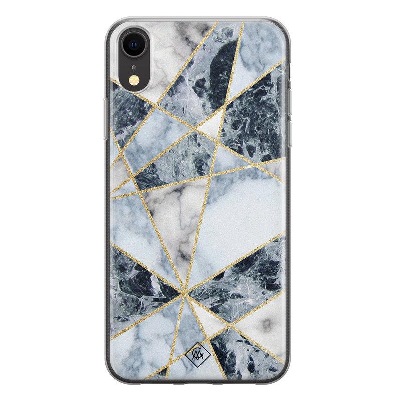 Casimoda iPhone XR siliconen hoesje - Marmer blauw
