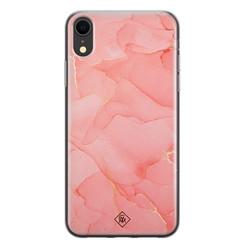 Casimoda iPhone XR siliconen hoesje - Marmer roze