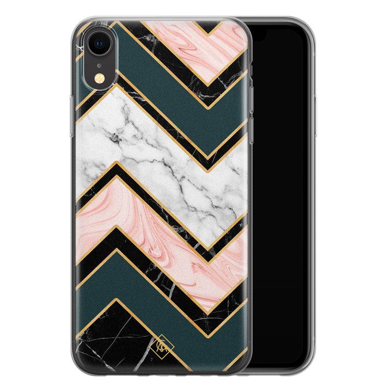 Casimoda iPhone XR siliconen hoesje - Marmer triangles