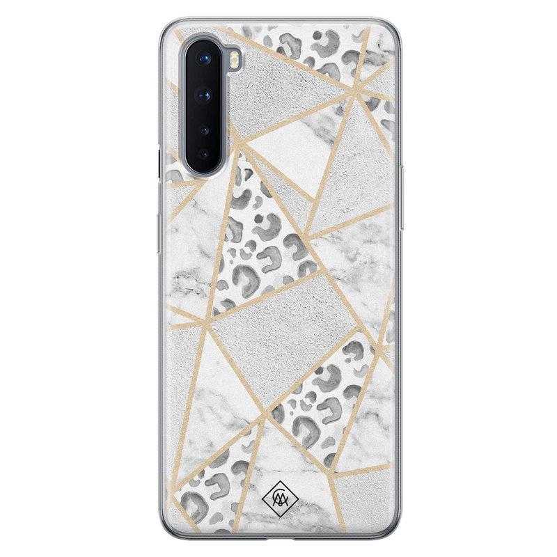 Casimoda OnePlus Nord siliconen telefoonhoesje - Stone & leopard print