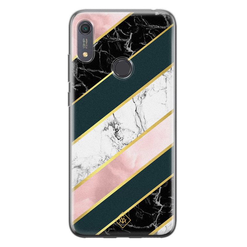 Casimoda Huawei Y6 (2019) siliconen hoesje - Marble stripes